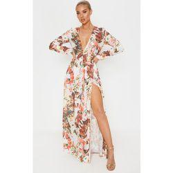 Robe très longue florale décolletée à manches longues - PrettyLittleThing - Modalova