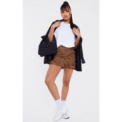 Mini-jupe tissée imprimé léopard à ourlet volanté - PrettyLittleThing - Modalova