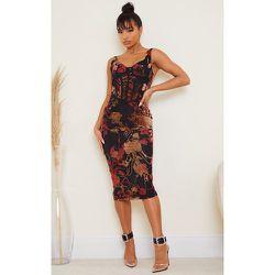 Robe mi-longue sans manches style corset à imprimé floral floqué  - PrettyLittleThing - Modalova