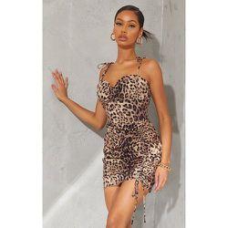 Robe moulante imprimé léopard en maille tissée à bretelles nouées détail jupe froncée - PrettyLittleThing - Modalova