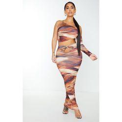 Shape - Jupe longue moulante imprimé rayures abstraites à découpes - PrettyLittleThing - Modalova