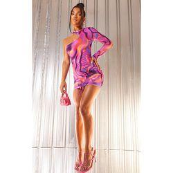 Robe très moulante asymétrique imprimé abstrait à jupe froncée - PrettyLittleThing - Modalova