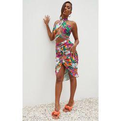 Robe mi-longue en maille imprimé fleuri croisée devant à dos nu et jupe froncée - PrettyLittleThing - Modalova
