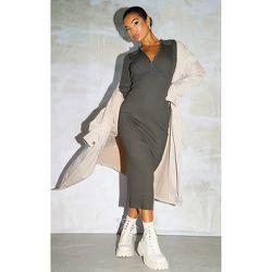 Robe longue en maille à col et demi zip - PrettyLittleThing - Modalova