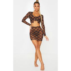 Mini jupe de plage en mesh à imprimé damier - PrettyLittleThing - Modalova