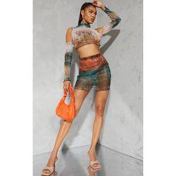 Mini-jupe en mesh dégradé à ourlet légèrement volanté - PrettyLittleThing - Modalova