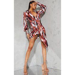 Robe chemise en maille imprimée marbre multicolore à décolleté plongeant et jupe drapée - PrettyLittleThing - Modalova