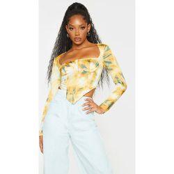 Crop top style corset tie & dye en maille tissée à manche longes détail buste - PrettyLittleThing - Modalova