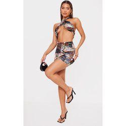 Mini-jupe slinky imprimé tigré froncée sur l'avant - PrettyLittleThing - Modalova