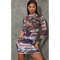 Robe moulante en mesh imprimé spirales à jupe froncée et détail buste - PrettyLittleThing - Modalova