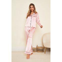 Pantalon de pyjama satiné Mix & Match à coutures contrastantes - PrettyLittleThing - Modalova