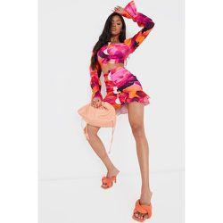 Mini-jupe froncée orange imprimé fleuri en maille tissée stretch à volants - PrettyLittleThing - Modalova