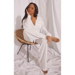 Ensemble de pyjama en coton à chemise manches longues oversize avec poche & pantalon ample - PrettyLittleThing - Modalova