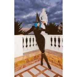 Robe mi-longue en velours effet drapé à col haut - PrettyLittleThing - Modalova