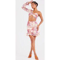 Mini jupe tissée imprimé Renaissance stretch à côté froncé et ourlet volanté - PrettyLittleThing - Modalova