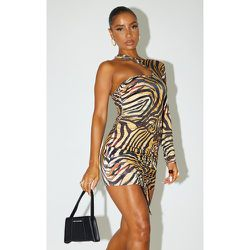 Robe très moulante asymétrique imprimé tigré à jupe froncée - PrettyLittleThing - Modalova