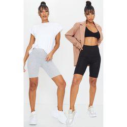 Pack de 2 short-leggings basiques gris et  - PrettyLittleThing - Modalova