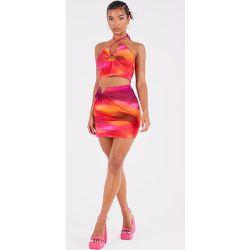 Mini jupe imprimé abstrait à ourlet fendu détail anneau - PrettyLittleThing - Modalova