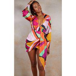 Robe chemise en maille imprimée abstrait à décolleté plongeant et jupe drapée - PrettyLittleThing - Modalova
