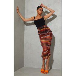 Jupe longue dégradé imprimé rayures en mesh froncé - PrettyLittleThing - Modalova
