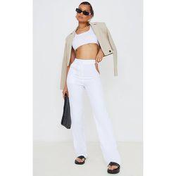 Pantalon droit en maille blanche à taille découpée et bande - PrettyLittleThing - Modalova