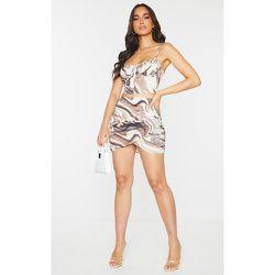 Mini jupe portefeuille imprimé marbre en maille tissée - PrettyLittleThing - Modalova