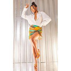 Mini-jupe moulante froncée imprimé abstrait à ourlet froncé - PrettyLittleThing - Modalova