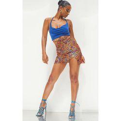 Mini-jupe imprimé zébrures à ourlet fendu et lien noué - PrettyLittleThing - Modalova