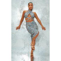 Robe mi-longue en maille imprimé géométriques croisée devant à dos nu et jupe froncée - PrettyLittleThing - Modalova