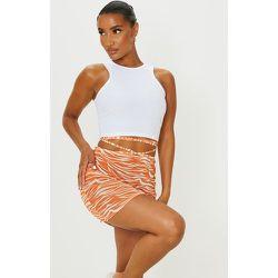 Mini-jupe imprimé zébré à ourlet fendu et lien noué - PrettyLittleThing - Modalova