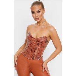 Top corset en maille métallisée léopard à ourlets pointus - PrettyLittleThing - Modalova