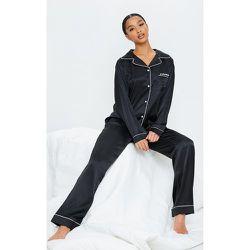 Petite - Ensemble de pyjama satiné profond à poches - PrettyLittleThing - Modalova