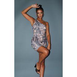 Robe moulante imprimé léopard à bretelle unique et jupe froncée - PrettyLittleThing - Modalova
