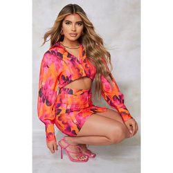 Robe chemise en maille imprimé abstrait découpée à boutons - PrettyLittleThing - Modalova