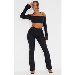 Pantalon skinny évasé en maille stretch découpé - PrettyLittleThing - Modalova