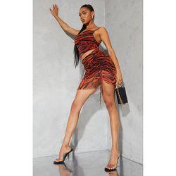 Mini jupe en mesh froncé imprimé zèbre à ourlet volanté - PrettyLittleThing - Modalova