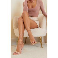 Sandales en similicuir nude à lacets et talons bloc transparents - PrettyLittleThing - Modalova