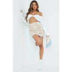 Mini-jupe crème imprimé fleuri effet froncé - PrettyLittleThing - Modalova
