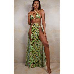 Jupe de plage longue verte imprimé tourbillon abstrait à fentes - PrettyLittleThing - Modalova