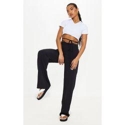 Pantalon droit en maille à taille nouée - PrettyLittleThing - Modalova