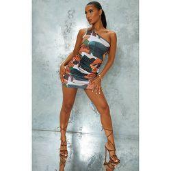 Robe moulante imprimé abstrait à bretelle unique et jupe froncée - PrettyLittleThing - Modalova