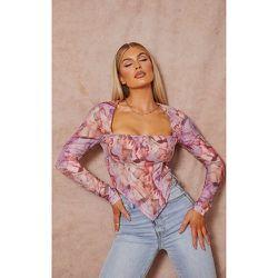 Crop top corset en maille imprimé Renaissance à détail buste et manches longues - PrettyLittleThing - Modalova