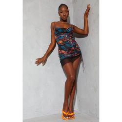 Robe moulante imprimé abstrait en mesh froncé à bretelles détail jupe - PrettyLittleThing - Modalova