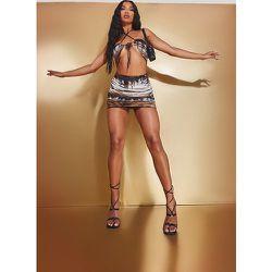 Mini jupe imprimé zèbre en mesh froncé sur les côtés - PrettyLittleThing - Modalova