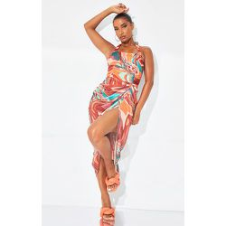 Robe mi-longue style corset en mesh imprimé marbre à dos nu et jupe froncée - PrettyLittleThing - Modalova