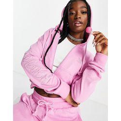 S Luxe - Hoodie court zippé en velours avec logo à strass - adidas Originals - Modalova