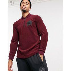 Polo à manches longues avec blason style étudiant en éponge - Bordeaux - adidas Originals - Modalova