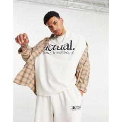ASOS - Actual - T-shirt d'ensemble oversize en tissu épais avec imprimé logo - Écru - ASOS Actual - Modalova