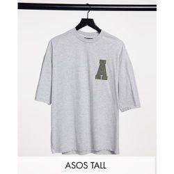 Tall - T-shirt oversize en velours côtelé avec logo appliqué sur le devant - ASOS Actual - Modalova
