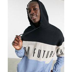 ASOS - Dark Future - Hoodie oversize à broderie et rayures color block effet coupé-cousu - ASOS Dark Future - Modalova